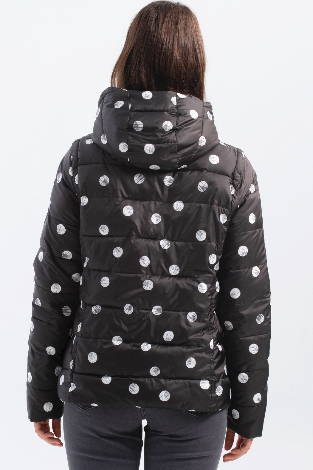 Charlie B. Polka Dot Four Way Puffer Jacket - Back Cropped Image