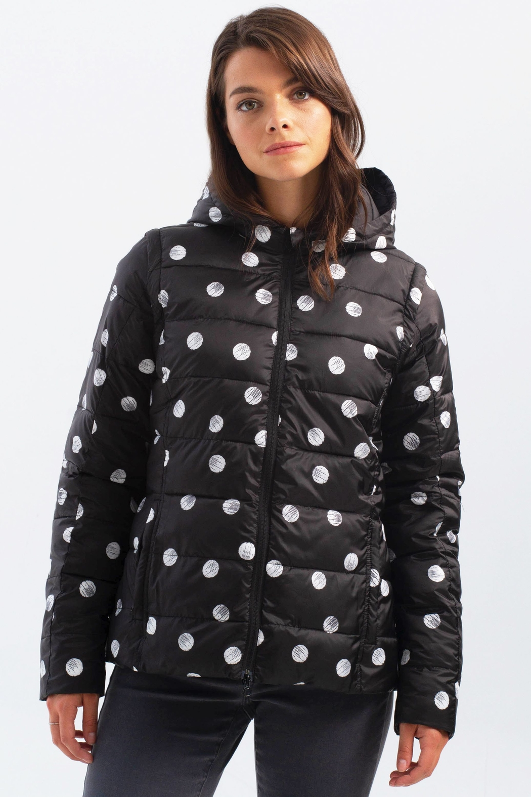 Charlie B. Polka Dot Four Way Puffer Jacket - Front Full Image