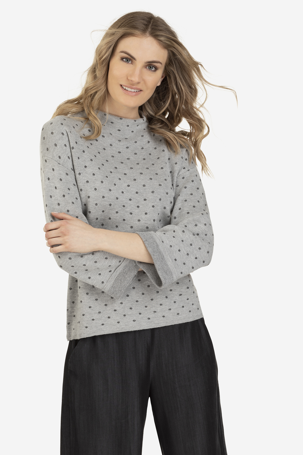Tribal Jeans Polka-Dot Funnel Sweater - Front Cropped Image