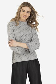 Tribal Jeans Polka-Dot Funnel Sweater - Front cropped