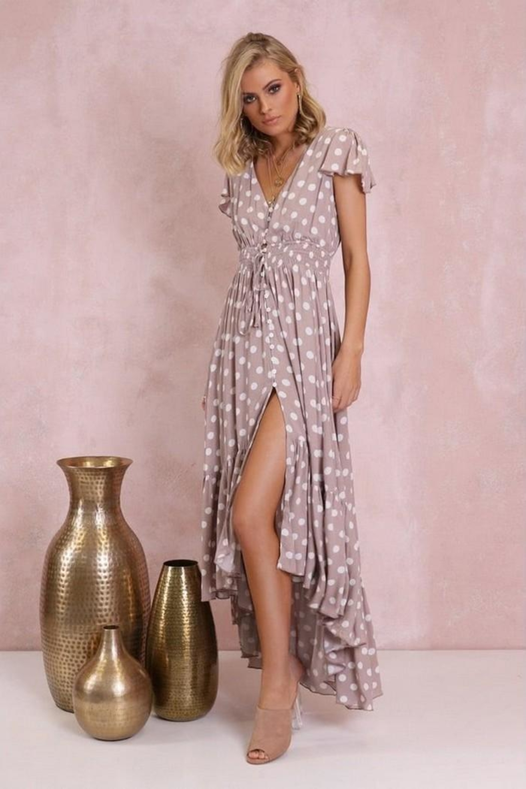 Lost in Lunar Polka-Dot Maxi - Front Cropped Image