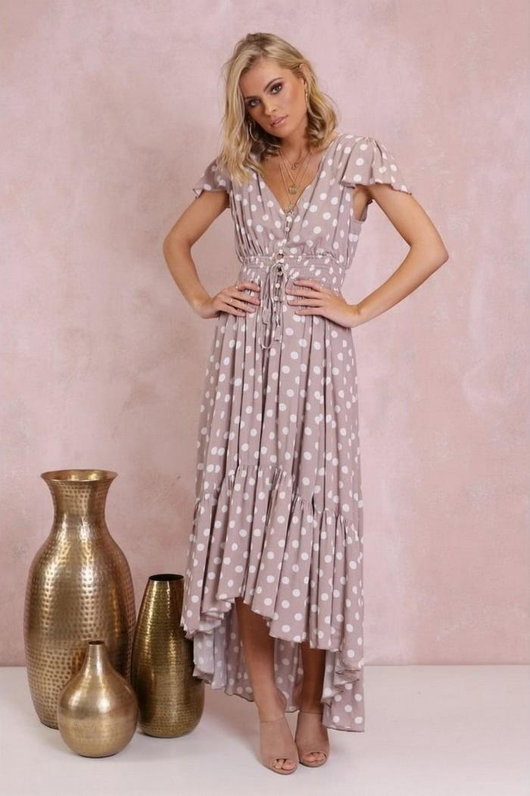 Lost in Lunar Polka-Dot Maxi - Side Cropped Image
