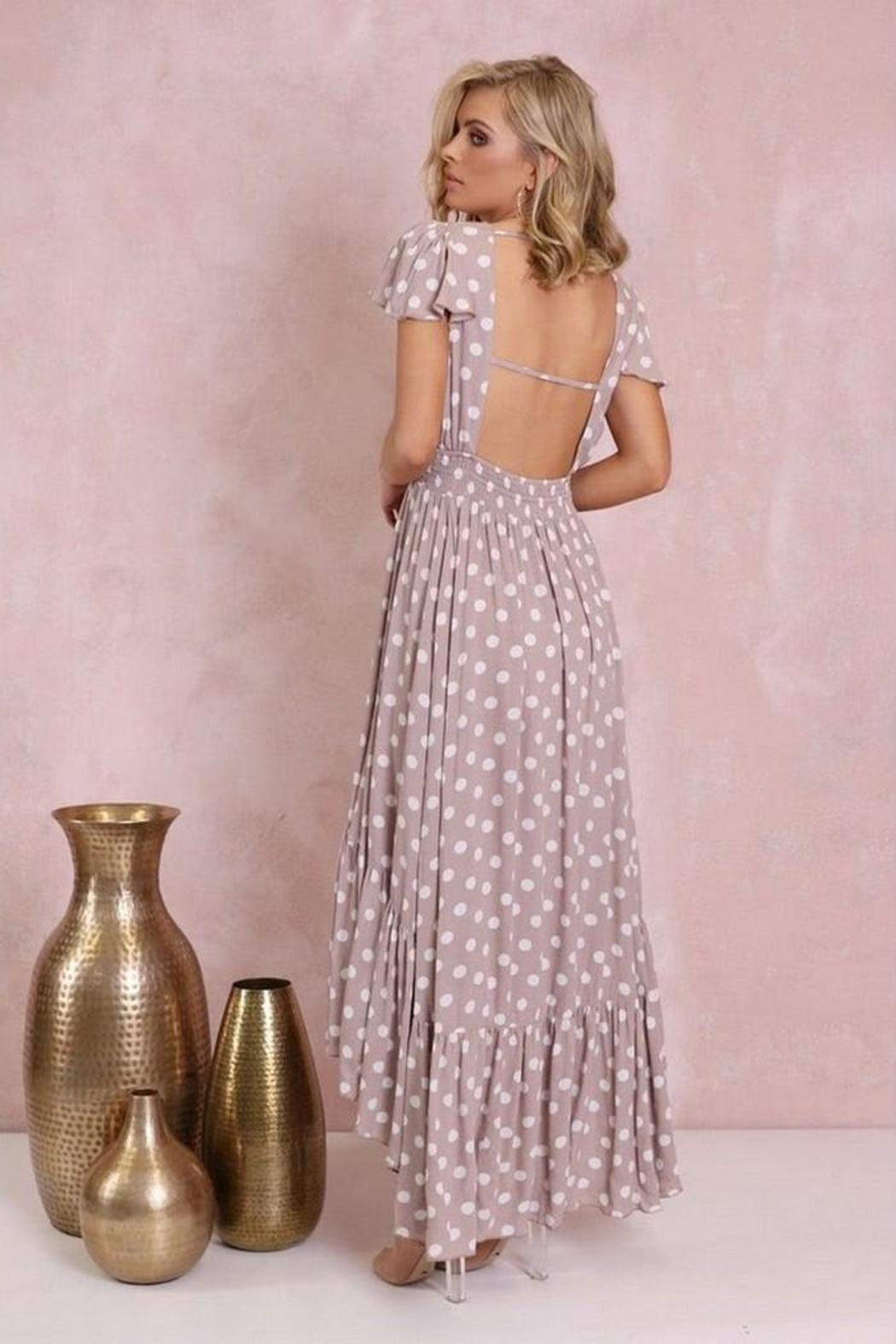 Lost in Lunar Polka-Dot Maxi - Front Full Image