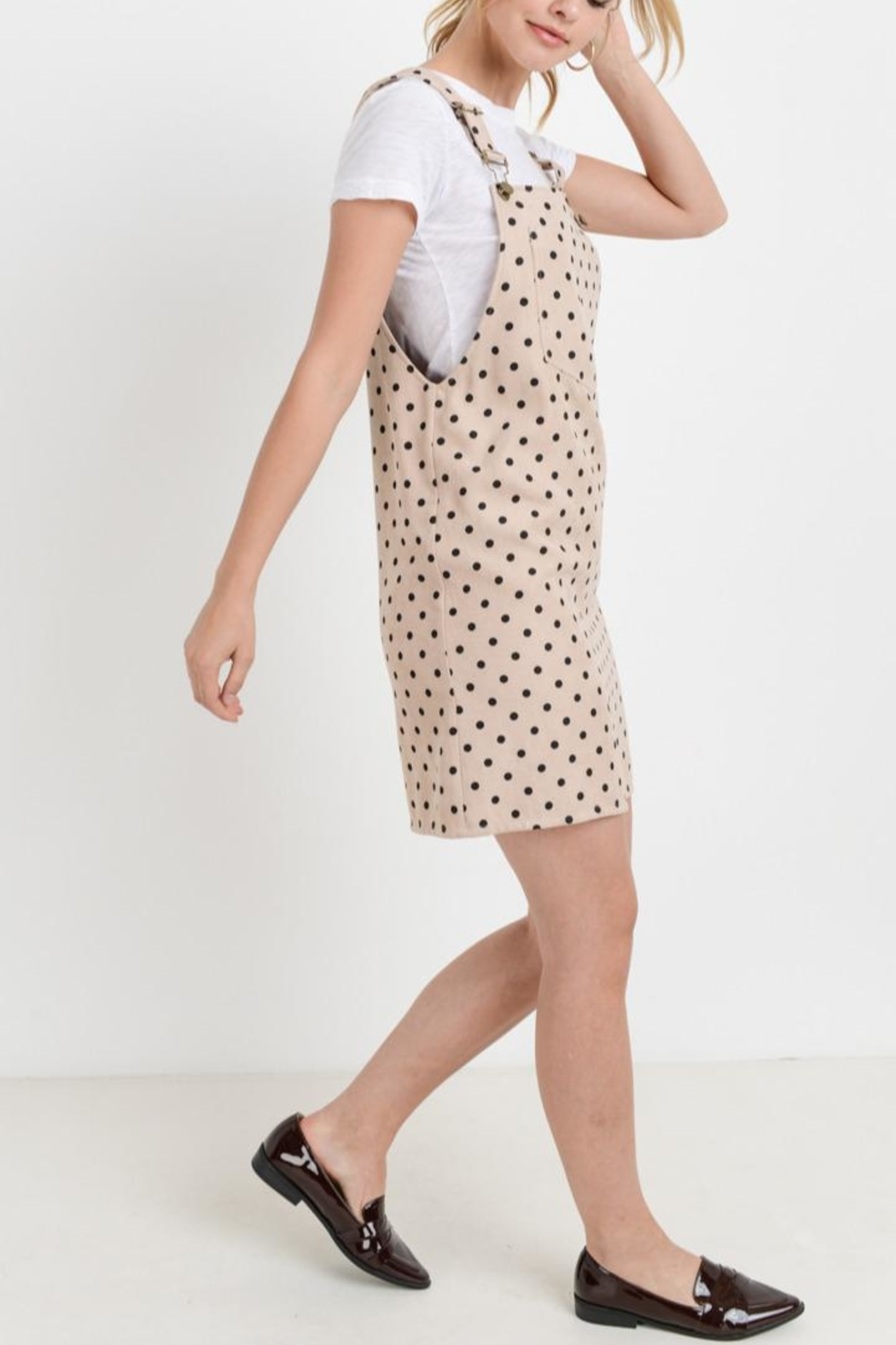 Papercrane Polka-Dot Overall Dress - Side Cropped Image