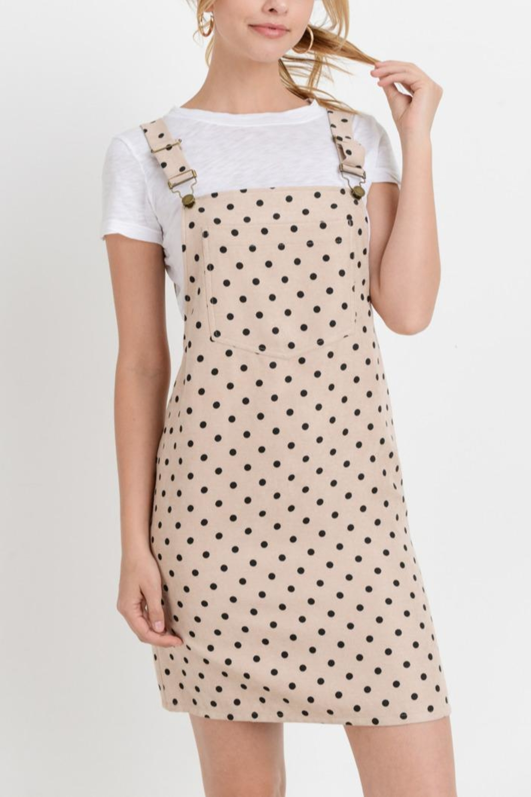 Papercrane Polka-Dot Overall Dress - Front Cropped Image