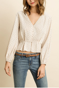 dress forum Polka Dot Pleated Blouse - Product List Image