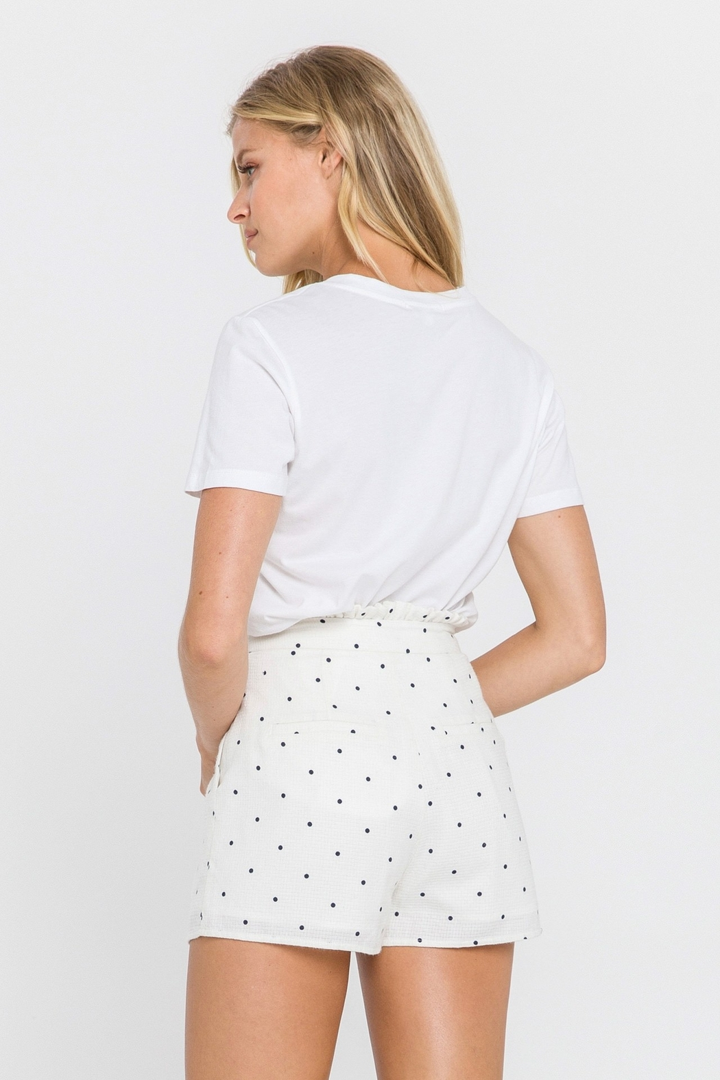 FREE THE ROSES Polka Dot Pleated Shorts - Side Cropped Image