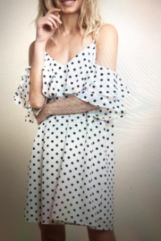 umgee  Polka Dot Ruffle Dress - Front cropped