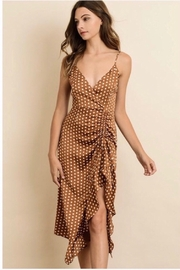 dress forum Polka Dot Ruffled Midi Dress - Carmel - Product Mini Image