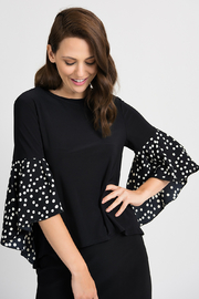 Joseph Ribkoff Polka Dot Sleeve Top, Black/White - Product Mini Image