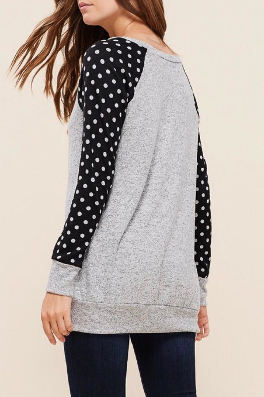 LuLu's Boutique Polka-Dot Sleeve Top - Side Cropped Image