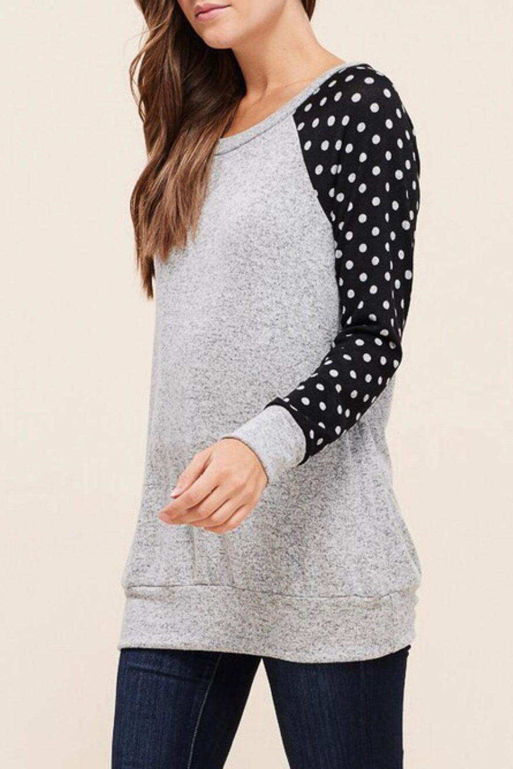 LuLu's Boutique Polka-Dot Sleeve Top - Front Full Image