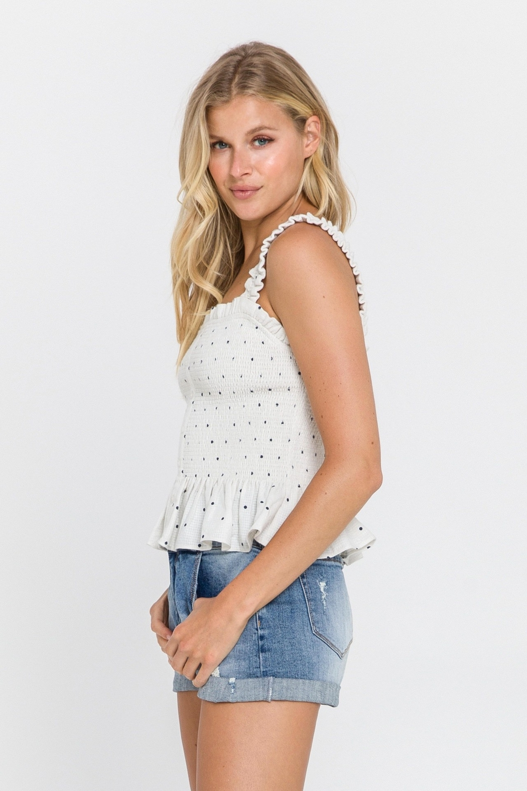 FREE THE ROSES Polka Dot Smocked Top - Front Full Image