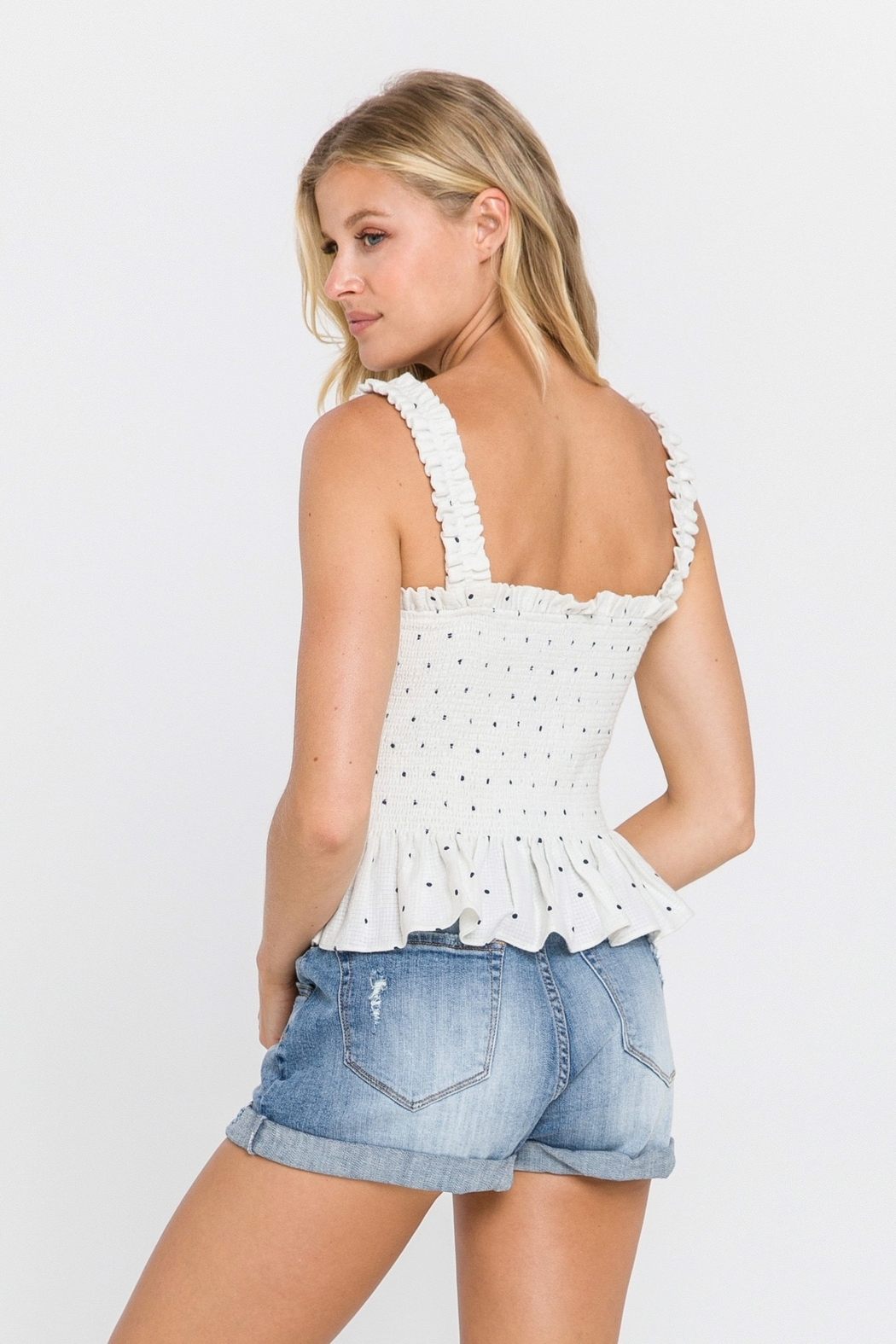 FREE THE ROSES Polka Dot Smocked Top - Side Cropped Image