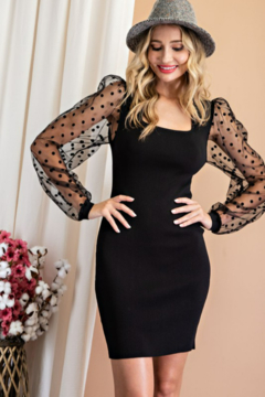 eesome Polka Dot Square Neck Bodycon Dress - Product List Image