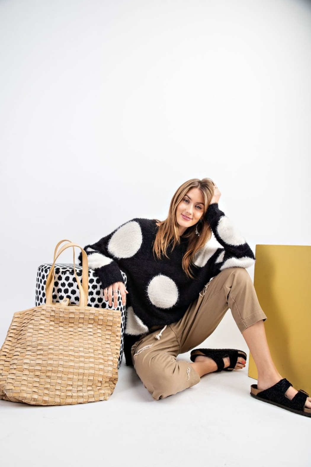 easel Polka Dot Sweater - Side Cropped Image