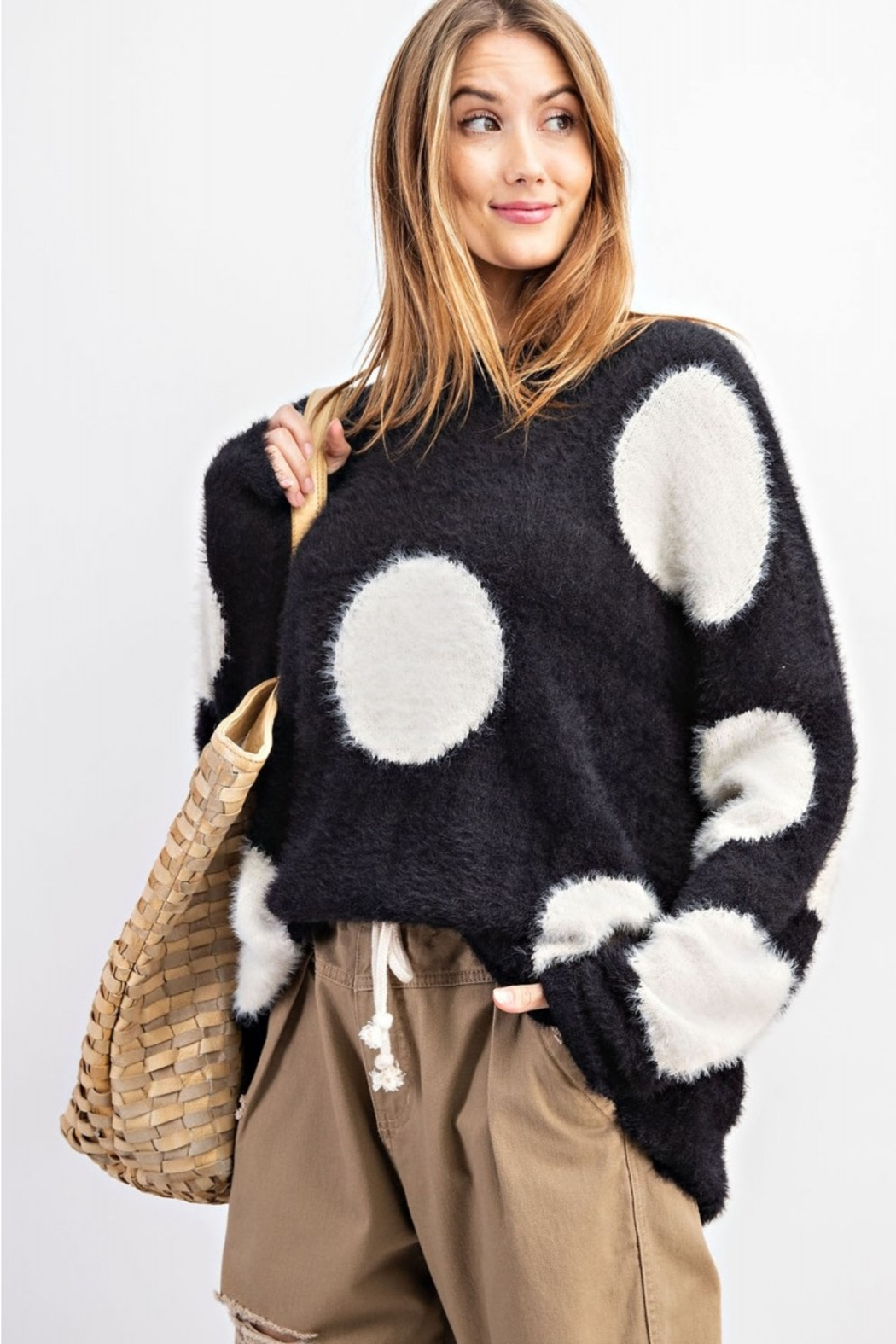 easel Polka Dot Sweater - Front Cropped Image