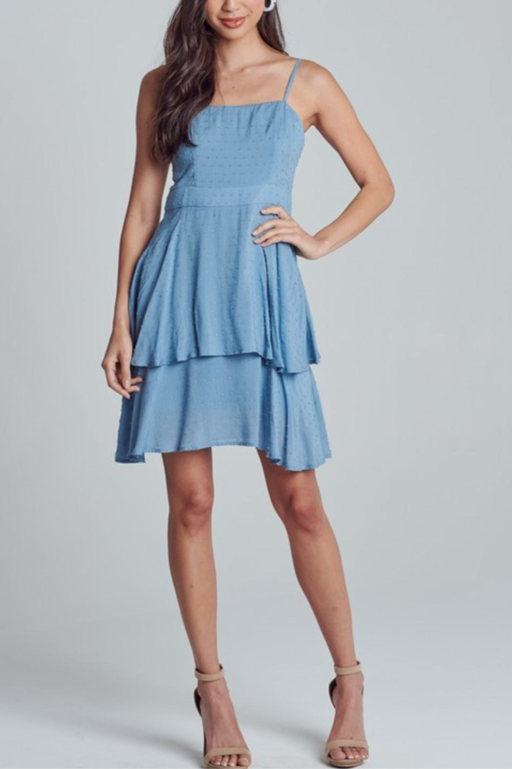 blue blush Polka-Dot Textured Dress - Main Image