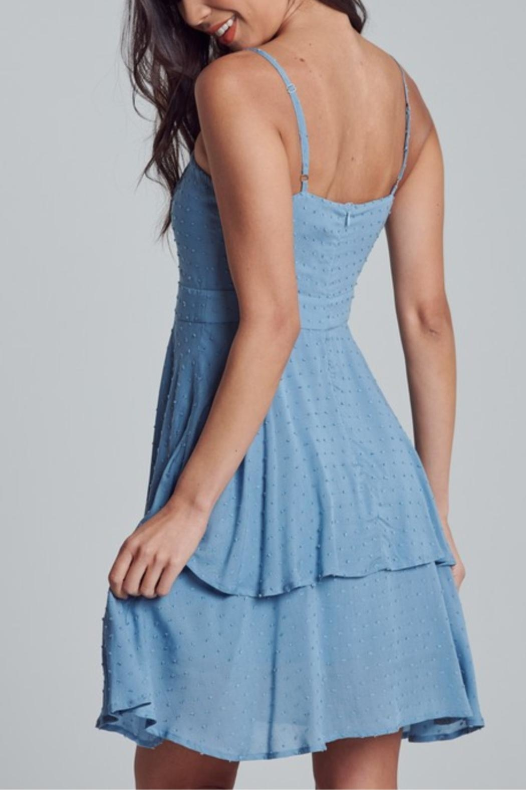 blue blush Polka-Dot Textured Dress - Side Cropped Image
