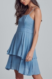 blue blush Polka-Dot Textured Dress - Front full body