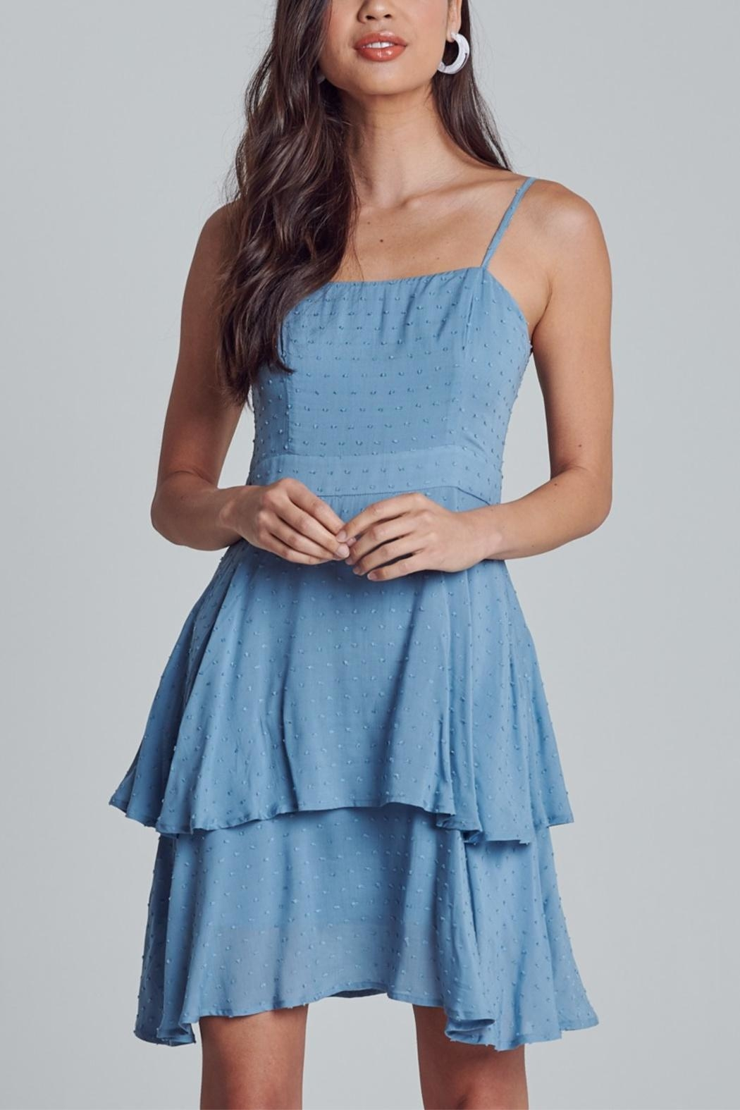 blue blush Polka-Dot Textured Dress - Back Cropped Image