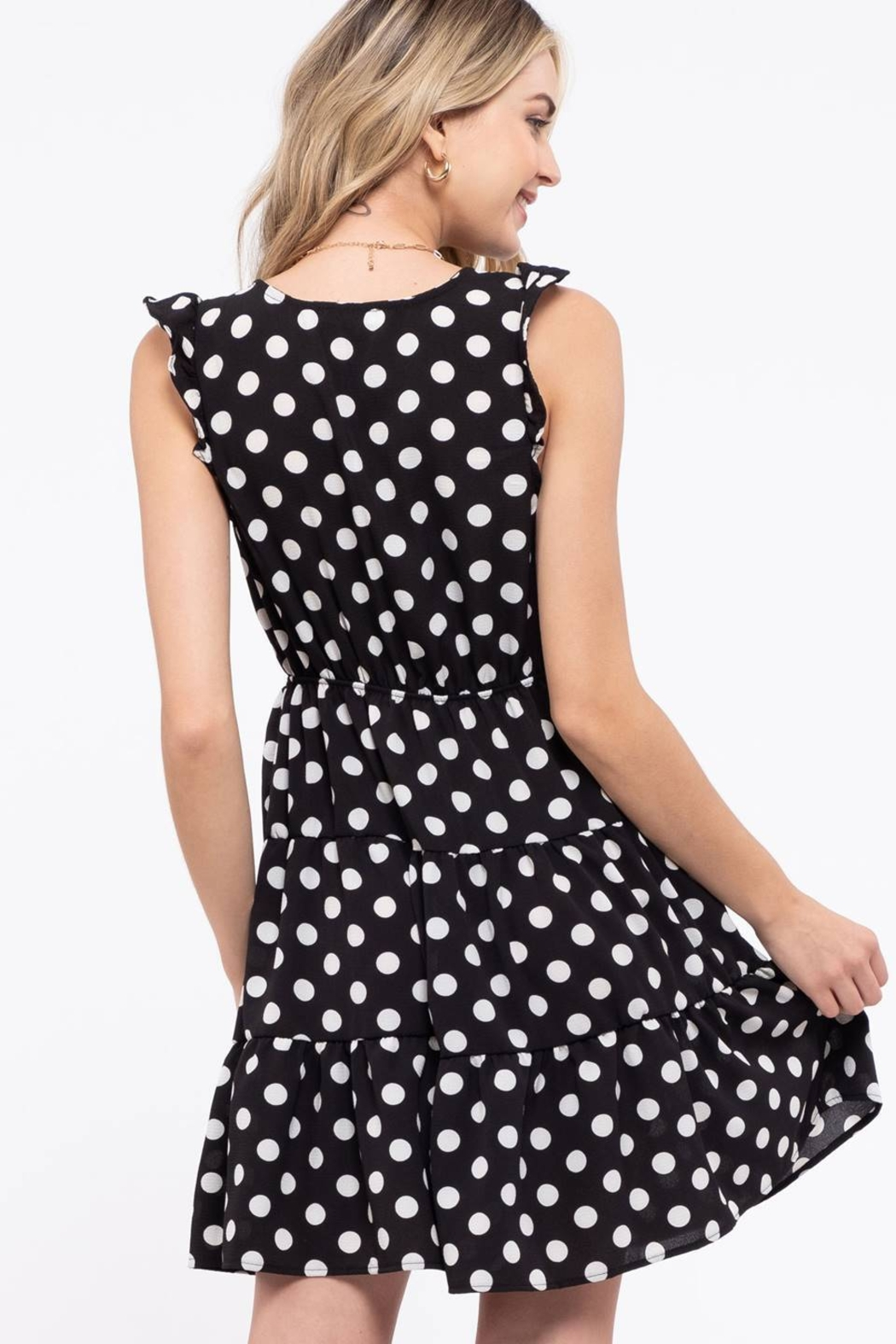 Day to Day Polka Dot Tiered Dress - Back Cropped Image