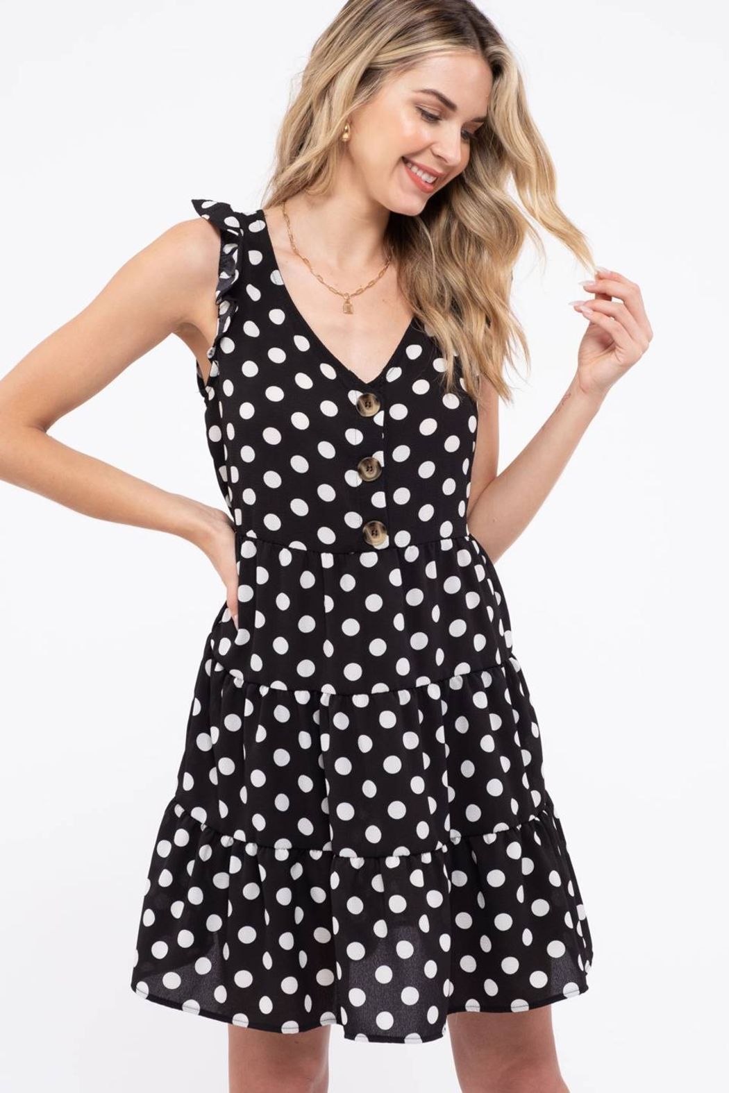 Day to Day Polka Dot Tiered Dress - Front Full Image