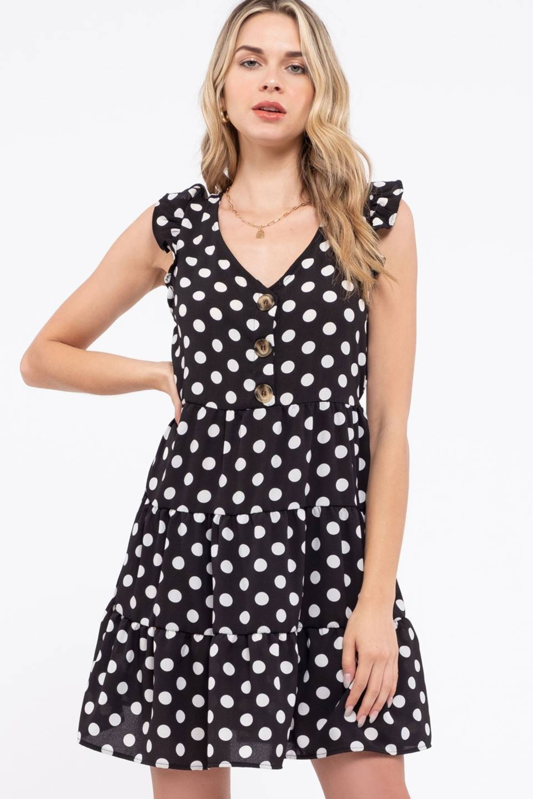 Day to Day Polka Dot Tiered Dress - Side Cropped Image
