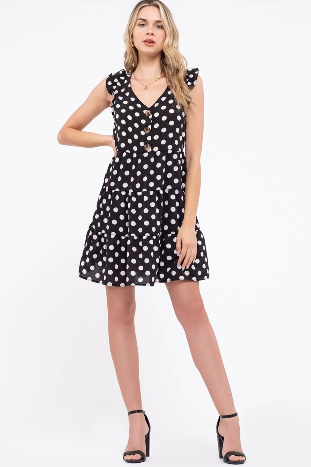 Day to Day Polka Dot Tiered Dress - Main Image