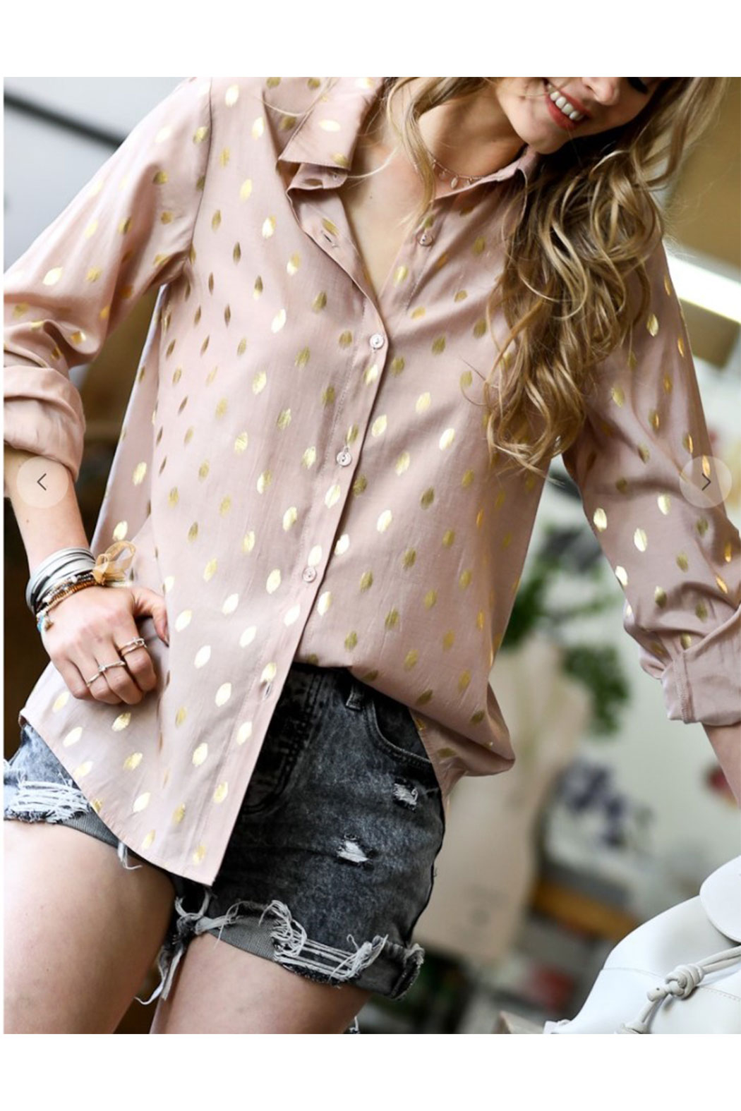 Maison A Polka Dot Top - Front Full Image