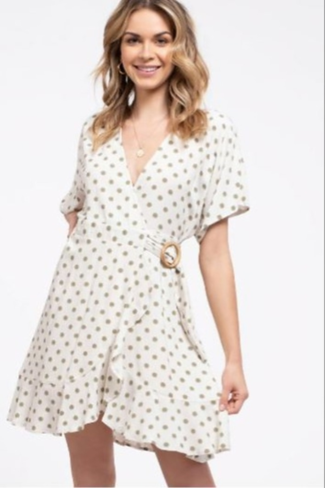 blue pepper  Polka Dot Wrap Dress - Front Cropped Image