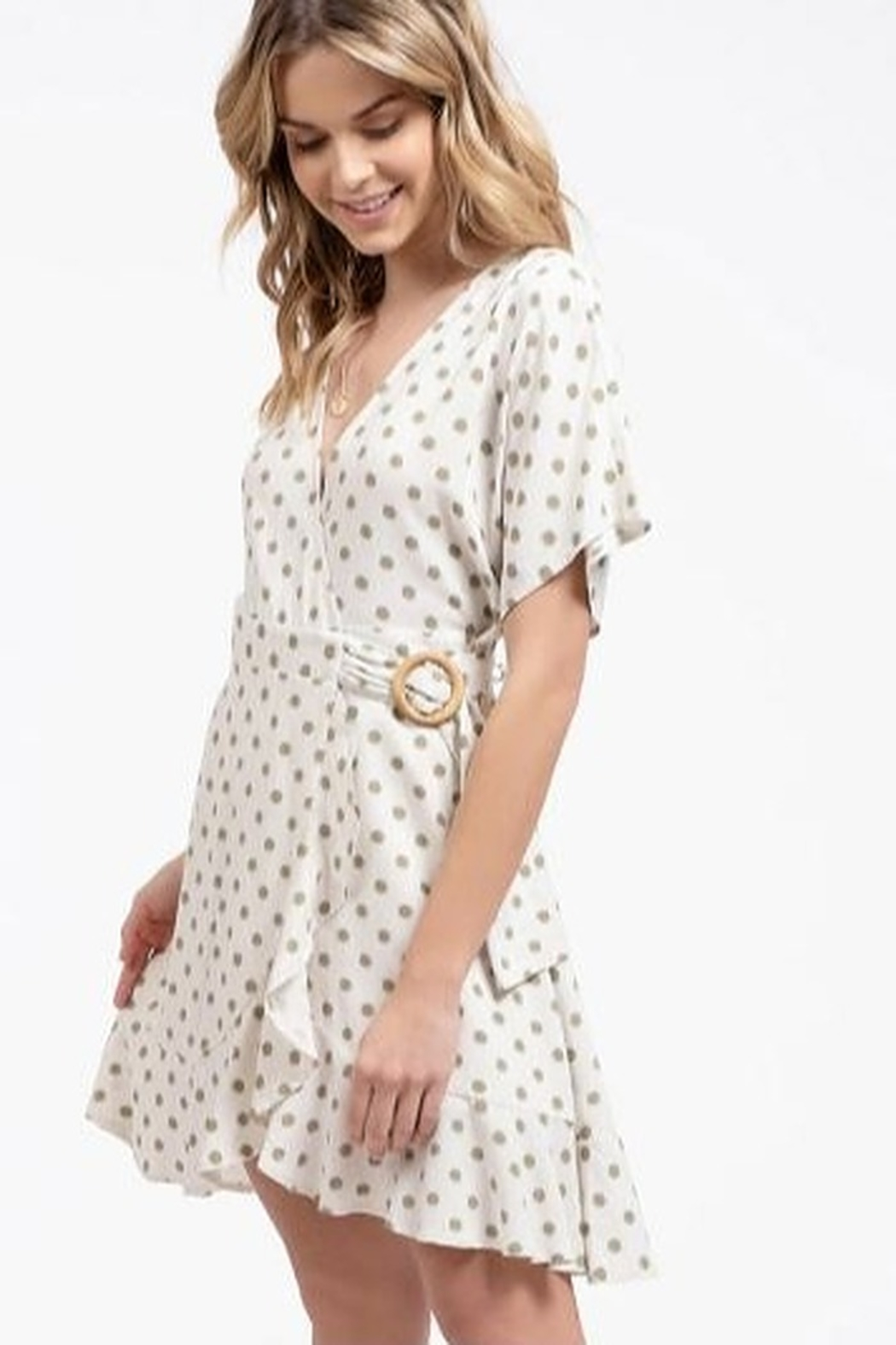 blue pepper  Polka Dot Wrap Dress - Side Cropped Image