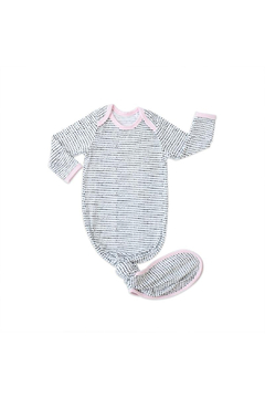Shoptiques Product: Polka Dots - Pink Trim Bamboo Viscose Infant Knotted Gown