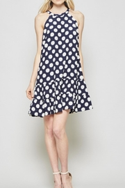 Andree by Unit Polkadot Navy Dress - Front cropped