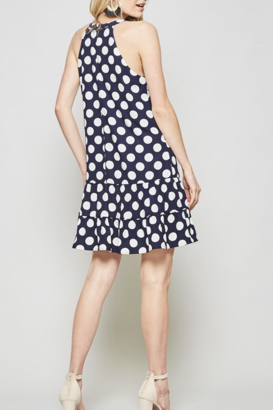Andree by Unit Polkadot Navy Dress - Side Cropped Image