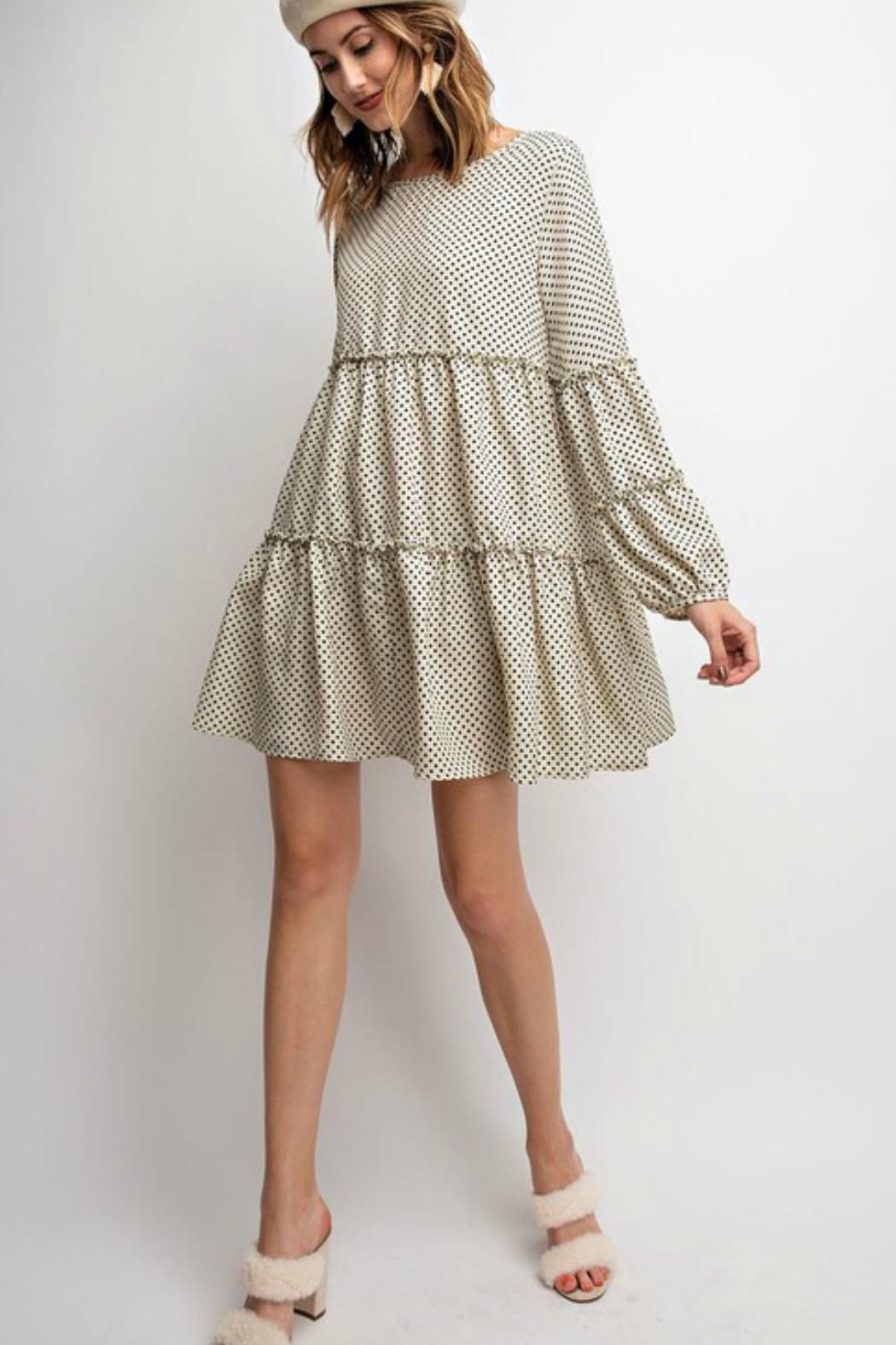easel Polkadot Tiered Dress - Front Cropped Image