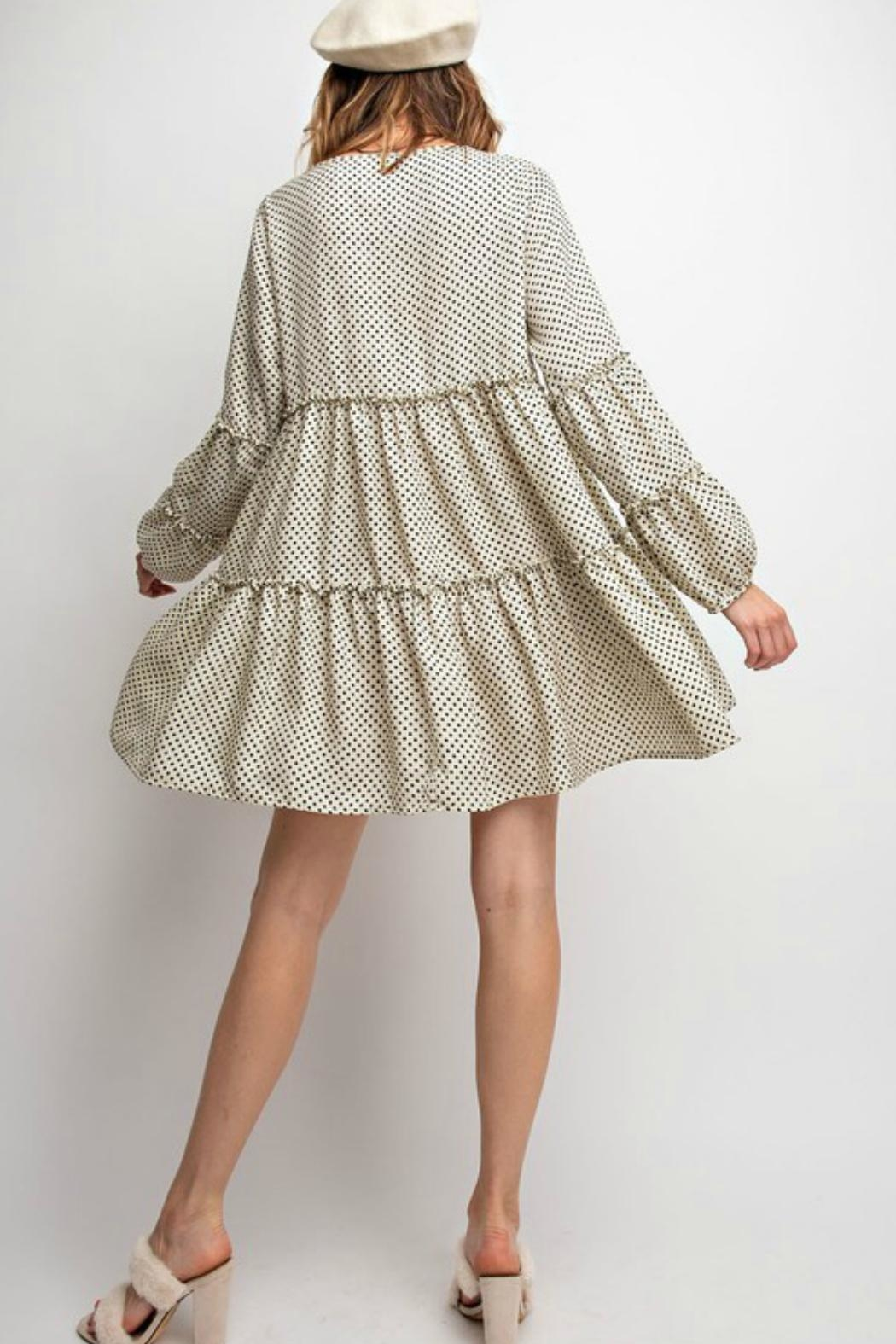 easel Polkadot Tiered Dress - Side Cropped Image