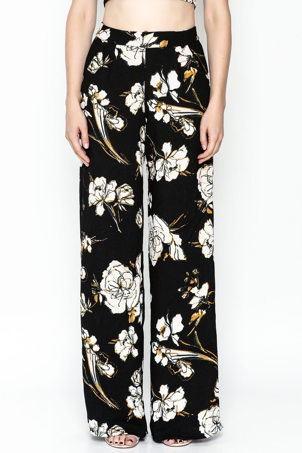 Polly & Esther Black Floral Trouser - Front Full Image