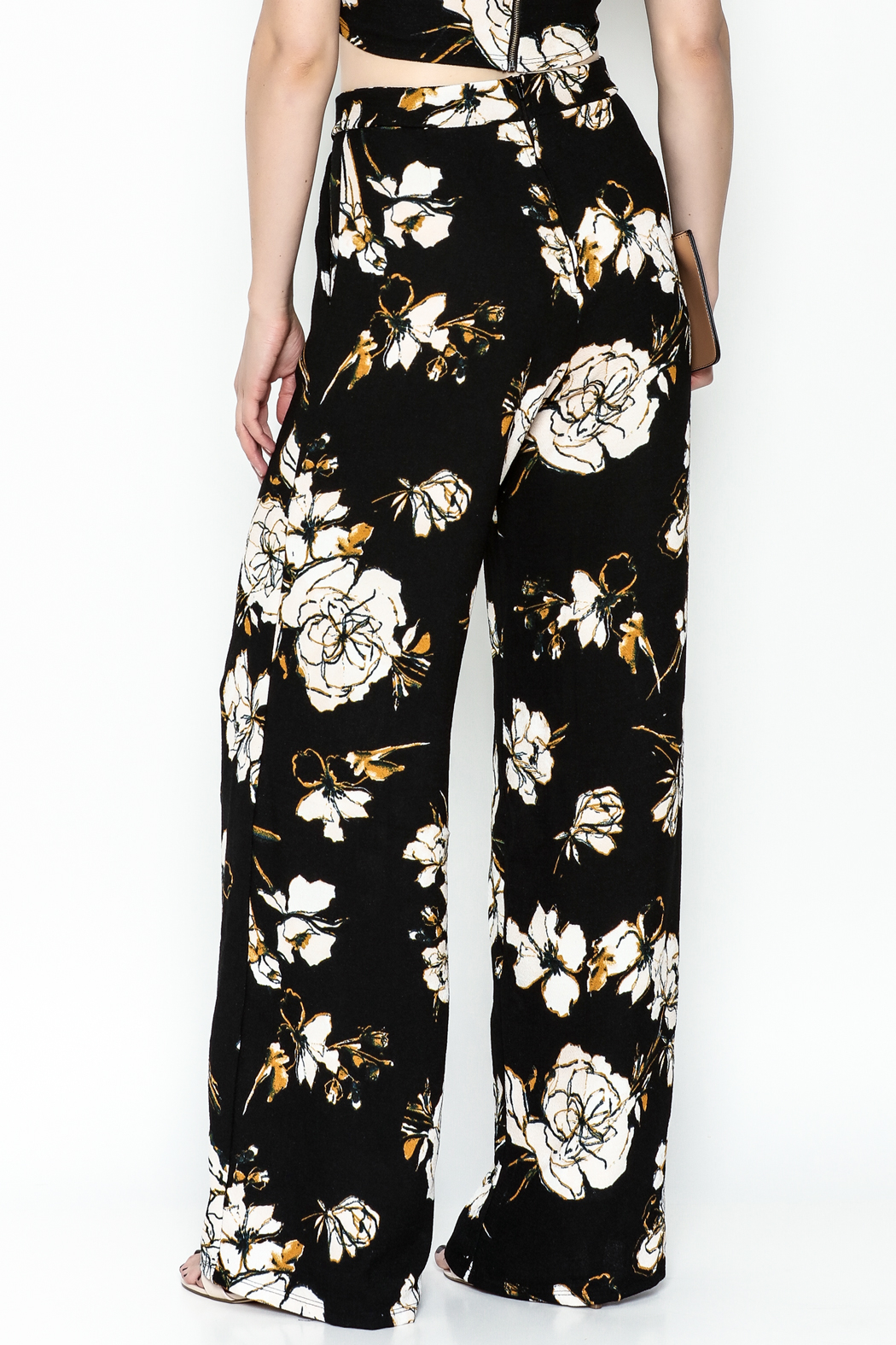 Polly & Esther Black Floral Trouser - Back Cropped Image