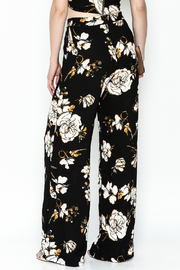 Polly & Esther Black Floral Trouser - Back cropped