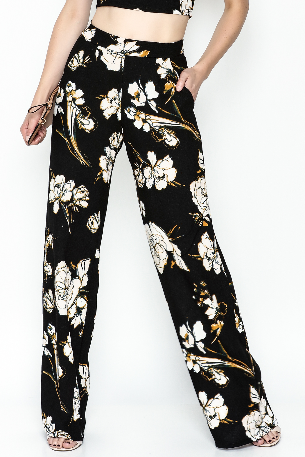 Polly & Esther Black Floral Trouser - Main Image