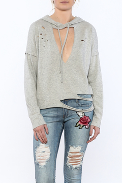 Shoptiques Product: Grey Distressed Hooded Sweater