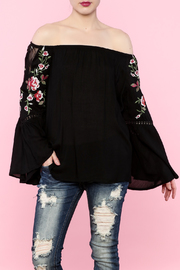 Polly & Esther Off-Shoulder Embroidered Top - Product Mini Image