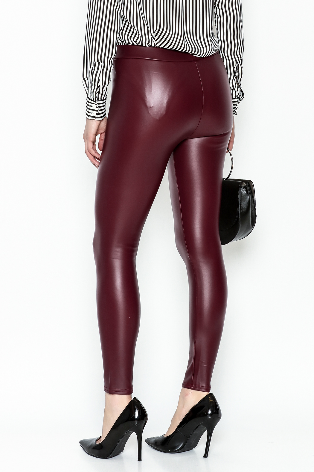 Polly & Esther Pleather Leggings - Back Cropped Image