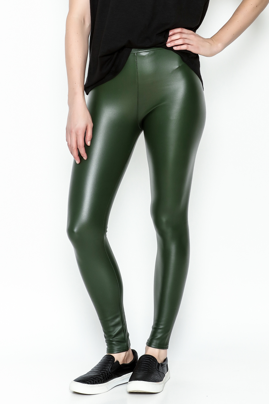 Polly & Esther Pleather Leggings - Front Cropped Image