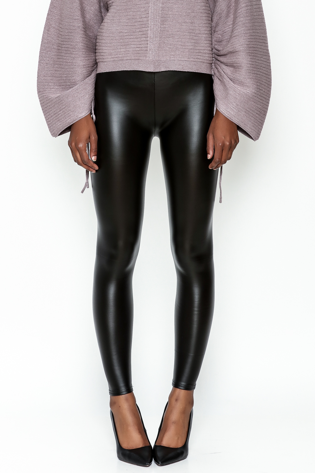 Polly & Esther Pleather Leggings - Front Full Image