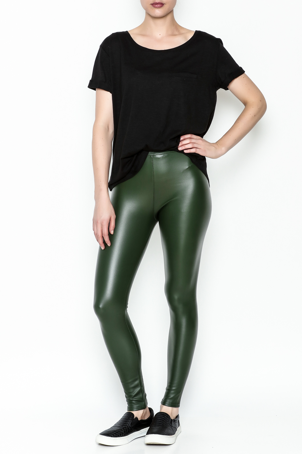 Polly & Esther Pleather Leggings - Side Cropped Image