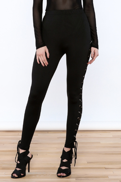 Shoptiques Product: Black Lace-Up Leggings