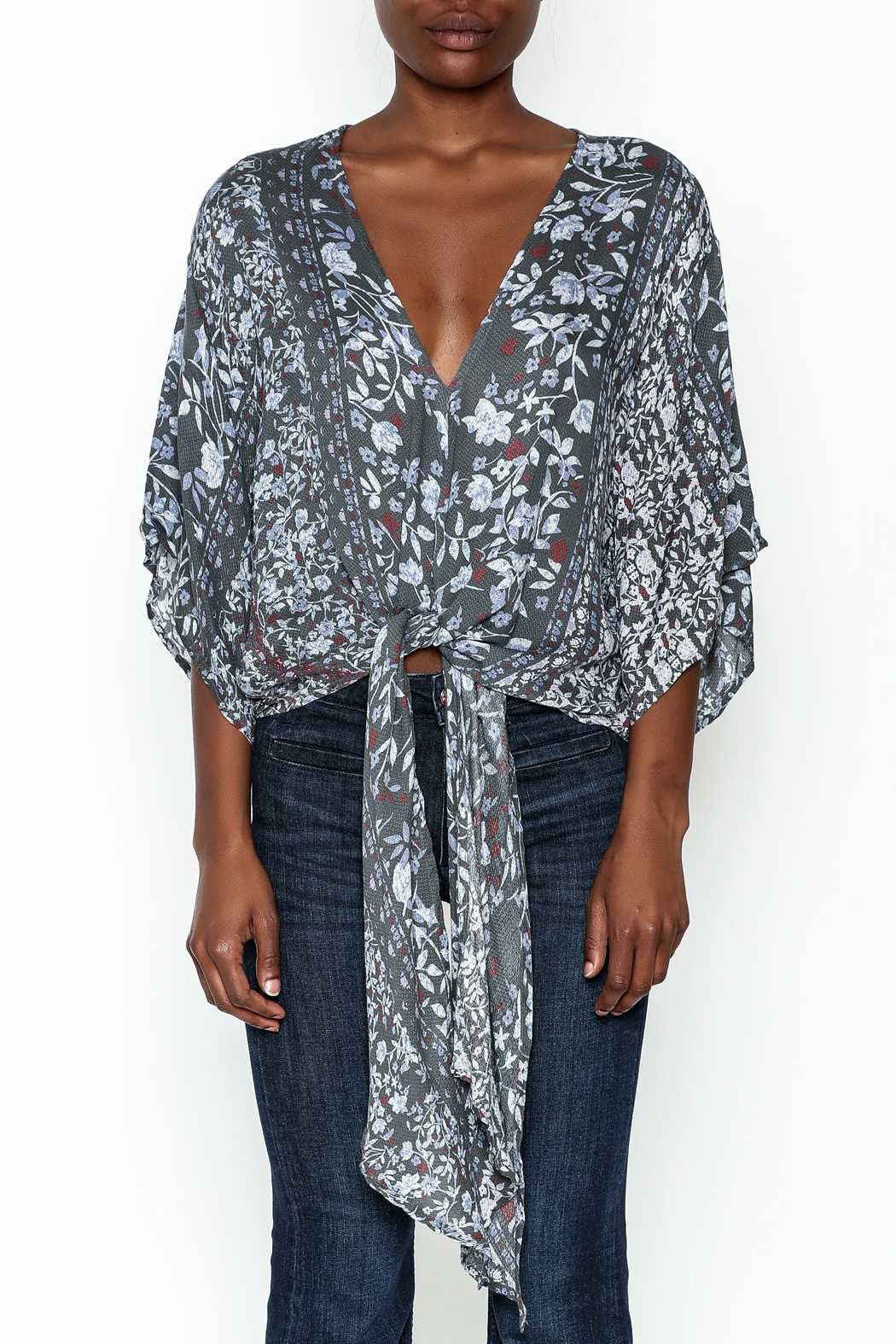 Polly & Esther Tie Front Blouse - Front Full Image