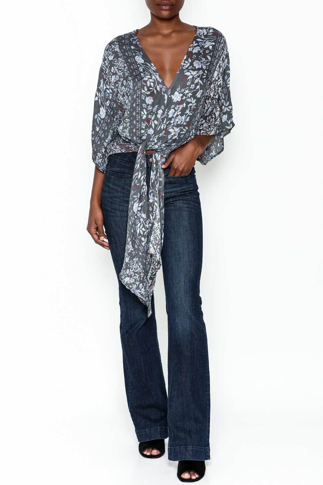 Polly & Esther Tie Front Blouse - Side Cropped Image